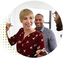 circle-banner-woman-sharing-data